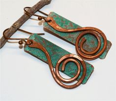 Rustic Copper Earrings by SunStones on Etsy