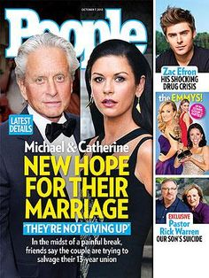 ON NEWSSTANS 9/27/13: How Catherine Zeta-Jones and Michael Douglas Are Fighting to Save Their Marriage. Plus: Sac Efron's drug crisis and more http://www.people.com/people/article/0,,20738597,00.html