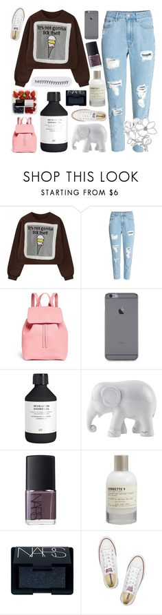 """~we'll go down in history~"" by miss-constellation-of-tears ❤ liked on Polyvore featuring WithChic, H&M, Mansur Gavriel, The Elephant Family, NARS Cosmetics, Le Labo, Converse and missconstellationoftears"