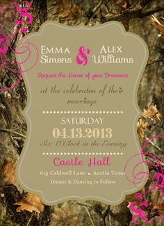 Mossy Oak Wedding Invitation - Hunting theme | Hunting themes ...