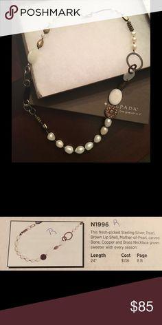 "Silpada Necklace N1996 Silver, Pearl, carved bone, brass 24"" necklace Silpada Jewelry Necklaces"