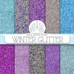 "Glitter Digital Paper : "" WINTER GLITTER "" with glitter background, glitter texture in blue, silver, purple for scrapbooking, cards"