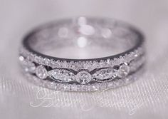 Discount 3 Full Eternity Bands 14k White Gold Wedding Band Diamonds Ring
