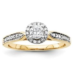 Unique 14K White or Yellow Gold Diamond  Halo by LyonsJewelry, $569.00