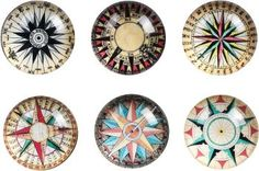 Compass Glass Magnets - Set of 6