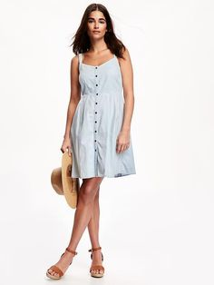 Button-Front Chambray Sundress for Women