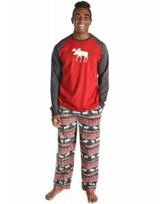 LazyOne Unisex Pattern Moose PJ T Shirt Adult Long Sleeve