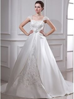 Ball-Gown Square Neckline Court Train Organza Satin Wedding Dress With Embroidered Ruffle Beading (002011665) - JJsHouse