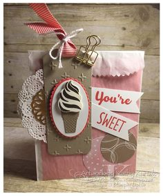 """Faithful INKspirations: Sweet Treat Gift Bag is made with Stampin' Up's """"Cool Treats"""" stamp set and matching Frozen Treats bundle."""