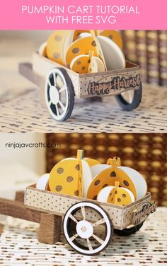 Learn to make this super cute fall pumpkin cart with your Cricut. Great project for beginners Cricut paper craft ideas Fall Paper Crafts, Diy Crafts To Do, Easy Craft Projects, Craft Ideas, Tree Crafts, Project Ideas, Diy Ideas, Belem, Crafty Craft