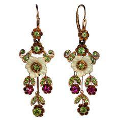 Russian Art Nouveau Enameled Demantoid Long Earrings | From a unique collection of vintage dangle earrings at https://www.1stdibs.com/jewelry/earrings/dangle-earrings/