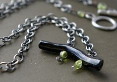 black coral on oxidized sterling chain with peridot beads
