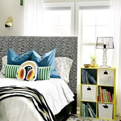 Ideas and inpsiration for creating a big boy room full of pattern AND color! See the playful and pattern-happy big boy room details here! Basement Paint Colors, Big Blank Wall, Bedroom Decor For Teen Girls, Shared Bedrooms, Room Planning, New Room, Bedroom Wall, Decor Ideas, Room Ideas