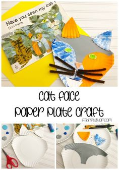 Paper plate cat face craft for kids - A Thrifty Mom - Recipes, Crafts, DIY and Cat Crafts, Arts And Crafts, Nature Scavenger Hunts, Crafts For Kids To Make, Kids Diy, Kids Crafts, Rainy Day Crafts, Paper Plate Crafts, Paper Plates