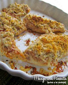 Receita de Frango Crocante, não vai fritura. Clique na imagem para ver a receita no Manga com Pimenta.