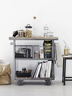 Vintage industrial trolley in the kitchen of the fabulous Finnish home of Maja / Musta Ovi. Coffee Station Kitchen, Home Coffee Stations, Kitchen Carts On Wheels, Kitchen Trolley, Kitchen Island, Kitchen Storage, Kitchen Decor, Room Kitchen, Diy Kitchen