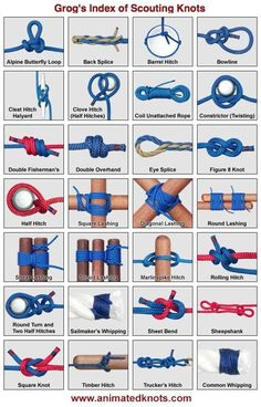 Helpful camping knots. Click one—an animation shows how it's tied. I learned these in Girl Scouts but have since forgotten most of them.