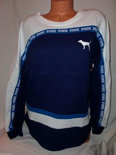 New Victoria's Secret PINK Varsity Oversized Crew Sweatshirt Blue Choose Size  #VictoriasSecretPINK #Sweatshirt