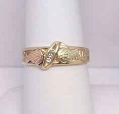 Landstroms 10K Black Hills Gold Diamond Band Ring 3 Grams Size 8 #Landstroms
