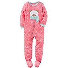77cb5d0d8 Carter's Girls 1 Piece Fleece Sleeper Pajama Pink Polka Dog These Girls,  Girls 4,