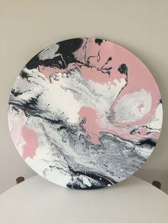 Abstrakt Acrylic Fluid Art Blush pink, black white grey on canvas! My art for sale Shower Enclosures Acrylic Pouring Art, Acrylic Art, Abstract Canvas, Canvas Art, Circle Canvas, Pink Painting, Black And White Painting, Pink Art, Resin Art