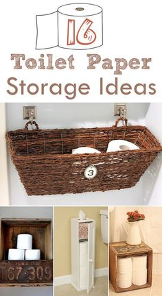 16 Practical and Creative Toilet Paper Storage Ideas Wondering where and how you can store a small mountain of toilet paper rolls? Don't worry, there are several cool solutions that will not only allow you to maintain a decent supply on hand, bu Craft Paper Storage, Toilet Paper Storage, Toilet Paper Roll, Diy Toilet Paper Holder, Hallway Storage, Wall Storage, Diy Storage, Storage Ideas, Storage Solutions