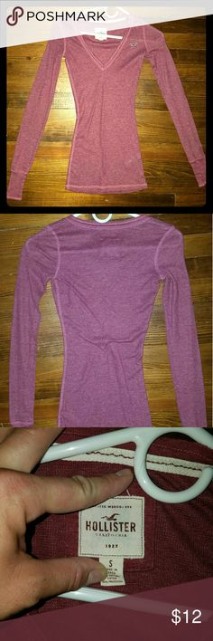 Hollister long sleeve light thermal V-neck, long sleeve lightweight thermal in maroon from Hollister Hollister Tops Tees - Long Sleeve