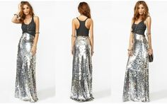 Sequin Maxi Skirt..DIY inspiration, will find tutorial Now! It's a must for Christmas or New Years!!
