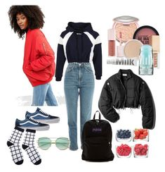 """""""trying to be stylish"""" by miarunhamworkshere on Polyvore featuring ASOS, MSGM, Topshop, Vans, Puma, Bare Escentuals, JanSport, Stila, MILK MAKEUP and 3.1 Phillip Lim"""