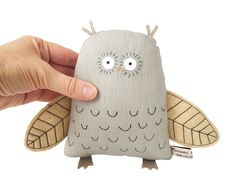 Owl - hand-embroidered soft sculpture by Poosac