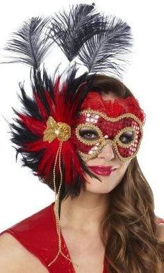 gold, black, and red masquerade mask #Masquerade #Mask
