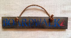 Boardwalk pallet wood sign with rope handle by SeaCityDesigns