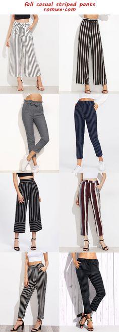 casual striped pants 2017 - romwe.com