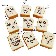 Cute DIY Smile Expression Squishy Rectangle Bread Sliced Toast Phone Straps 1PCS