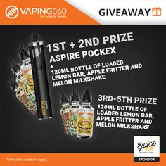 2 x Aspire PockeX and 1800 mL E-Juice Giveaway by Ejuice Plug
