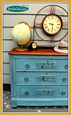"""ART IS BEAUTY: ''TIME"""" for a Makeover. Clock Dresser Makeover It was TIME for a Makeover on this Dresser. Come see what it looks like NOW! http://arttisbeauty.blogspot.com/2014/10/time-for-makeover-clock-dresser-makeover.html #furnituremakeover #paintedfurniture #makeover #hometalkeveryday#artisbeauty #stencil"""