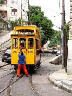 historic 'bonde' (tram) to Santa Teresa neighborhood, Rio de Janeiro, Brazil