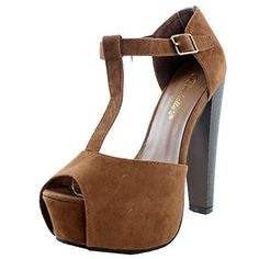 Breckelles Womens BRINA01W Open Toe High Heel TStrap Platform Sandals6 BM USTan01w *** Want to know more, click on the image.
