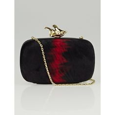 Pre-owned Givenchy Black/Red Pony Hair Abstract Flower Minaudiere... (57.220 RUB) ❤ liked on Polyvore featuring bags, handbags, clutches, fancy purses, pre owned handbags, special occasion clutches, calf hair handbags and flower handbags