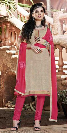 USD 27.55 Beige Cotton Churidar Suit 47555