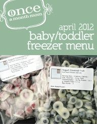 Freezer Baby Food 9-12 Month (Stage 2) Spring Menu - everything you need to make a months worth of baby food for your baby - grocery lists, recipe cards, labels, instructions and more. baby-food-9-12-month-menu-spring