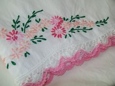 Vintage embroidered pillowcase embroidered pink by BlueSkyLane