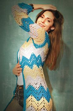 Free crochet long cardigans with graph patterns