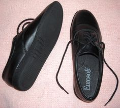 Comfortable Black Leather Shoes by Eurosoft Size 6M $16.00