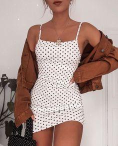 poka dot dress spring fashion trendy fashion fashion inspo brown jacket mini skirt white mini skirt trendy outfit - Mini Skirts - Ideas of Mini Skirts Mode Outfits, Casual Outfits, Fashion Outfits, Dress Fashion, Fashion Belts, Girly Outfits, Beach Outfits, Outfits For Teens, Look Fashion