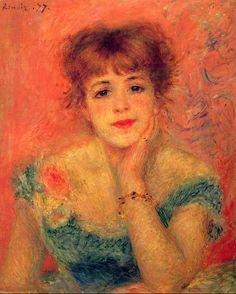 "Pierre-Auguste Renoir - ""Jeanne Samary in abito scollato (La Rêverie)"" (1877). #renoir #mastersofthepast"