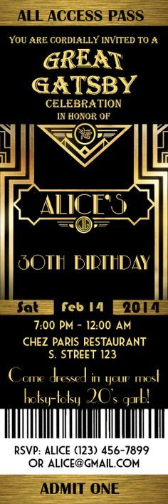 Great Gatsby Style Art Deco Birthday Party Invitation by StudioDMD, $10.00