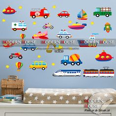 PEEL and STICK Removable Vinyl Kids Wall Decal Wall Sticker - Ship Train Car Planes Assorted Transportation Vehicles