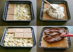 A delicious dessert without baking. Bananas, custard and biscuits are the right combination for small and large sweet tooths. A delicious dessert without baking. Bananas, custard and biscuits are the right combination for small and large sweet tooths. Keks Dessert, Dessert Oreo, Dessert Party, Sweet Recipes, Cake Recipes, Dessert Recipes, Pudding Desserts, Quick Recipes, Food Cakes