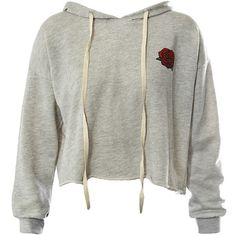 Sans Souci Grey rose print raw edge cropped hoodie (20.590 CLP) ❤ liked on Polyvore featuring tops, hoodies, shirts, sweaters, crop tops, grey, cropped pullover hoodie, grey cropped hoodie, hooded pullover sweatshirt and grey hoodies